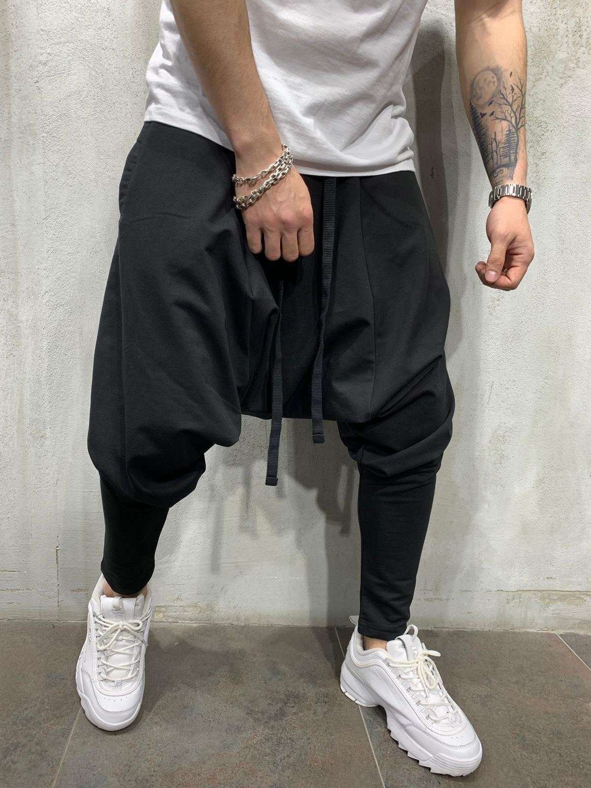 Men's New Hip Hop Trend Trousers Europe and The United States Loose Solid Color Feet Street Sports Leisure Harem Pants