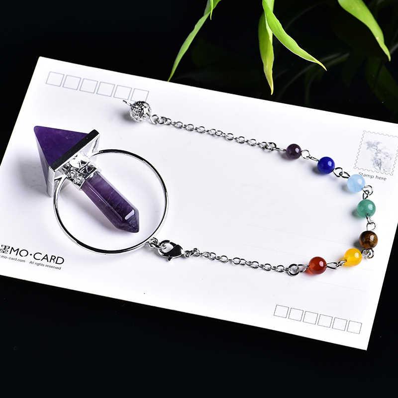 1PC אופנה טבעי קריסטל רוח פעמון תליון קריסטל פירמידת טבעי גביש נקודת קסם לרפא קריסטל עיצוב הבית DIY מתנה