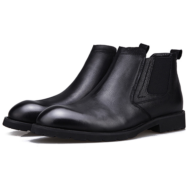 Mens Boots Fashion Brogue Shoes Male Genuine Leather Chelsea Shoes Business Formal Shoes Classic Casual Leather Boot Mens Black