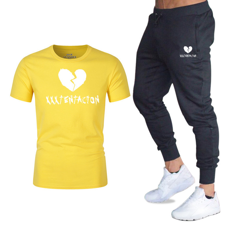 100% Cotton T-shirt Top M-2xl Summer Round Neck Printed T-shirt + Casual Sports Suit