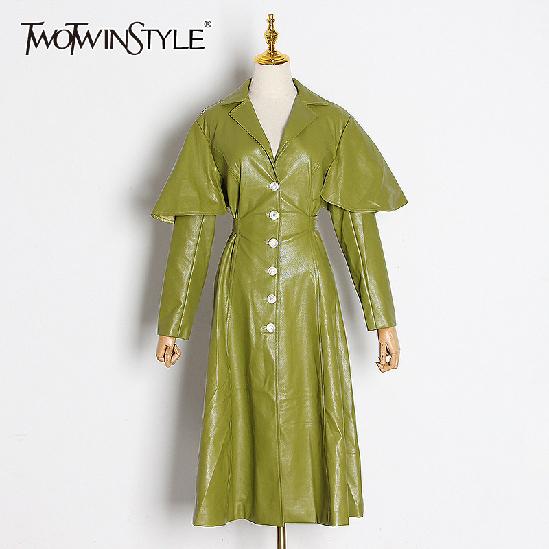TWOTWINSTYLE Vintage PU Leather Windbreakers For Women Lapel Collar Long Sleeve High Waist Trench Coats Female Fashion Clothing