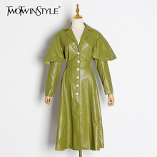 TWOTWINSTYLE Vintage PU Leather Windbreakers For Women Lapel Collar Long Sleeve High Waist