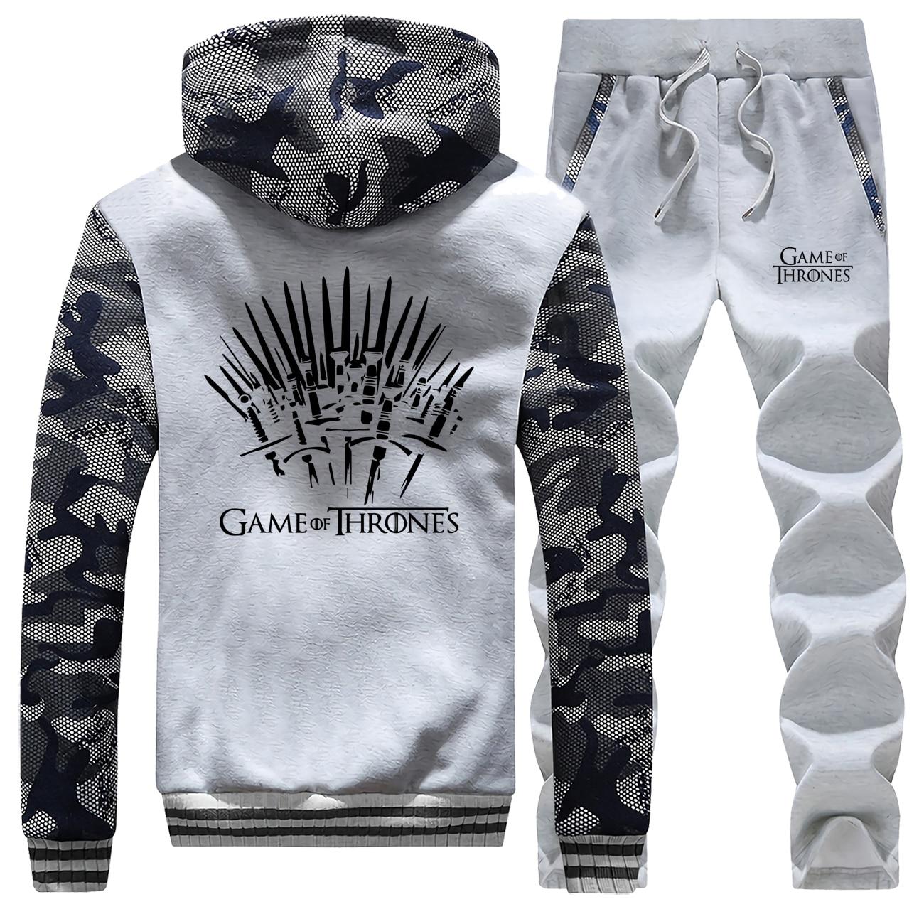 Game Of Thrones Camouflage Thick Hoodies Sweatshirt+pants 2 Piece Sets Men Fleece Hoodie Fashion Brand Mens Winter Jacket Suit
