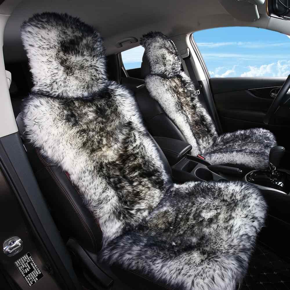 1 Piece Seat Universal Size Australian Long Wool Car Seat Cushion for Adult Man Women OGLAND Sheepskin Fur Car Seat Covers Black