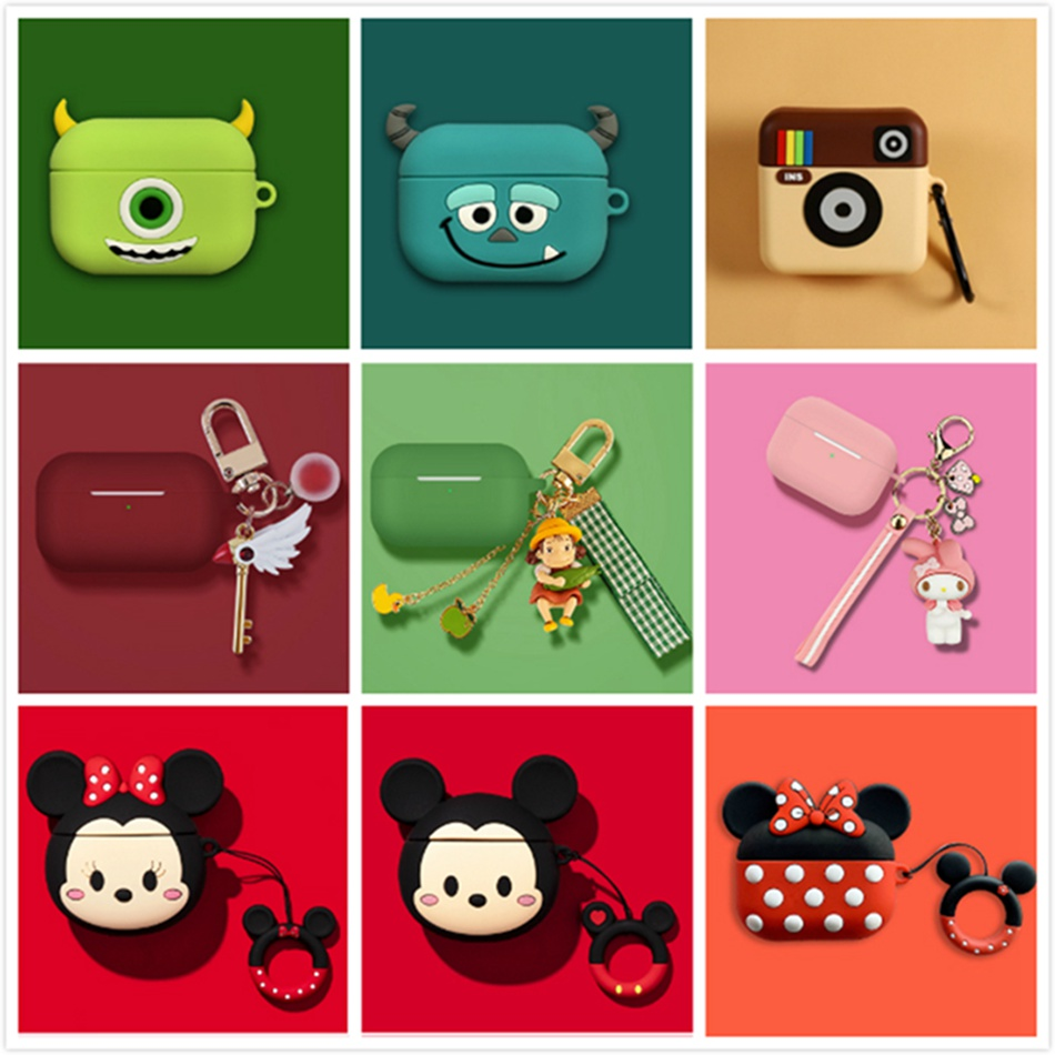 For AirPods Pro Case Cute Cartoon With Ring Cover Luxury Accessories Keychain Silicone Case For Apple Air Pods Pro 3 Dust Guard