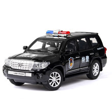 Diecast 1:24 High Simulation Toyota Land Cruiser Polices Car Alloy Vehicle Car Model Toy For Children Gifts Wheels Can Be Turned(China)