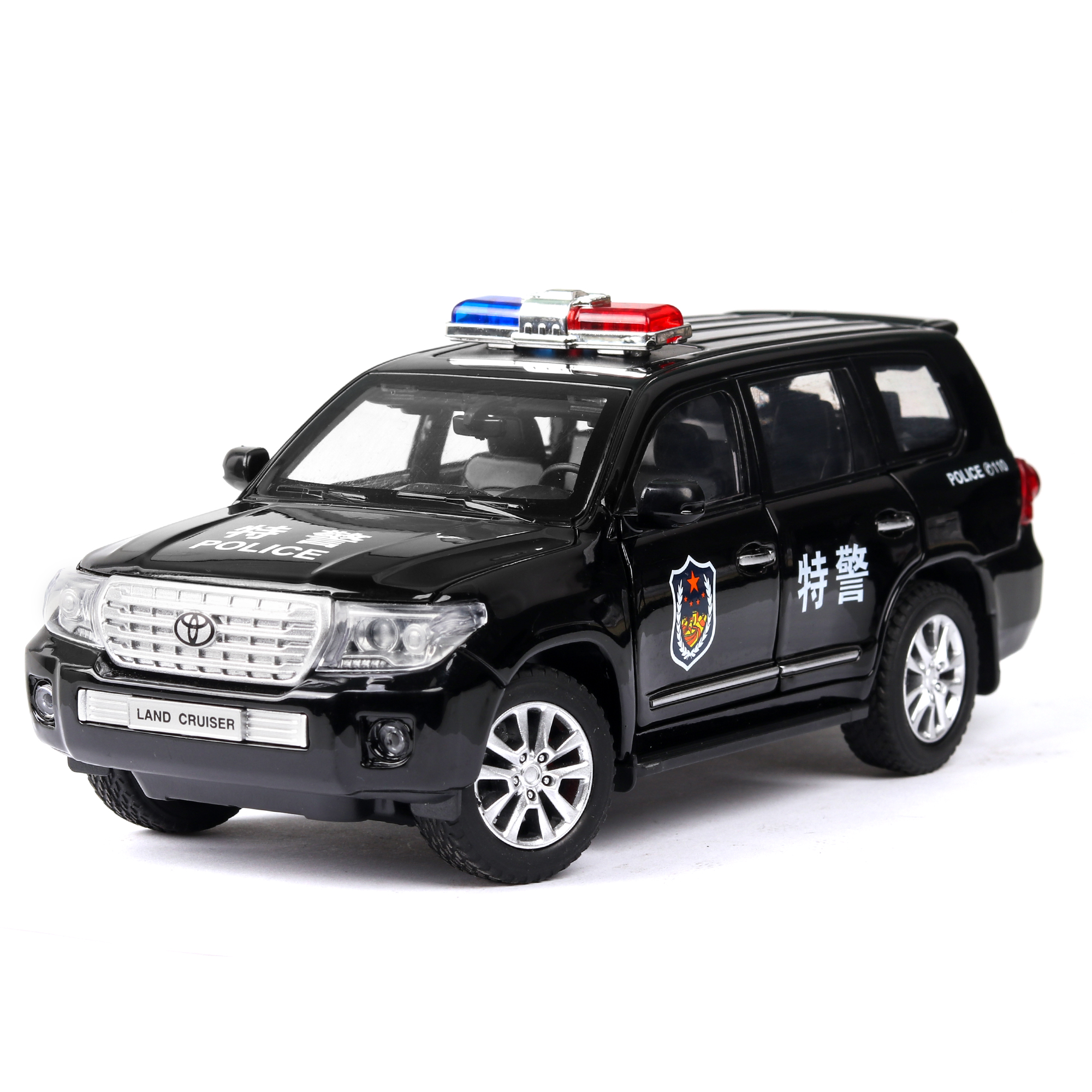 Diecast 1:24 High Simulation Toyota Land Cruiser Polices <font><b>Car</b></font> Alloy Vehicle <font><b>Car</b></font> <font><b>Model</b></font> Toy For Children Gifts <font><b>Wheels</b></font> Can Be Turned image