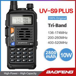 Baofeng UV-S9 PLUS Tri-Band 10W High Power Portable Two Way Radio 220-260Mhz UV 5R Upgrade Amateur Radio FM Transceiver