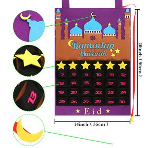 Image 3 - Ourwarm Eid Mubarak Decoratie Diy Vilt Kalender Gouden Ster Sticker Home Muur Opknoping Moslim Balram Ramadan Kareem Festival Party