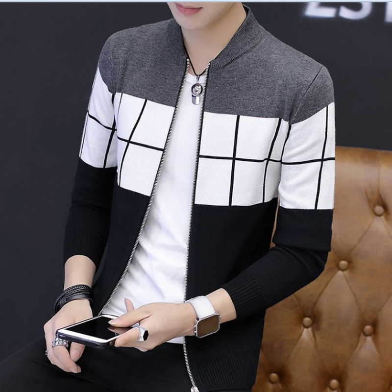2020 Autumn Men New Casual Wool Cardigan Sweater Jumper Men Winter Fashion Striped Pockets Knit Outwear Coat Sweater Men