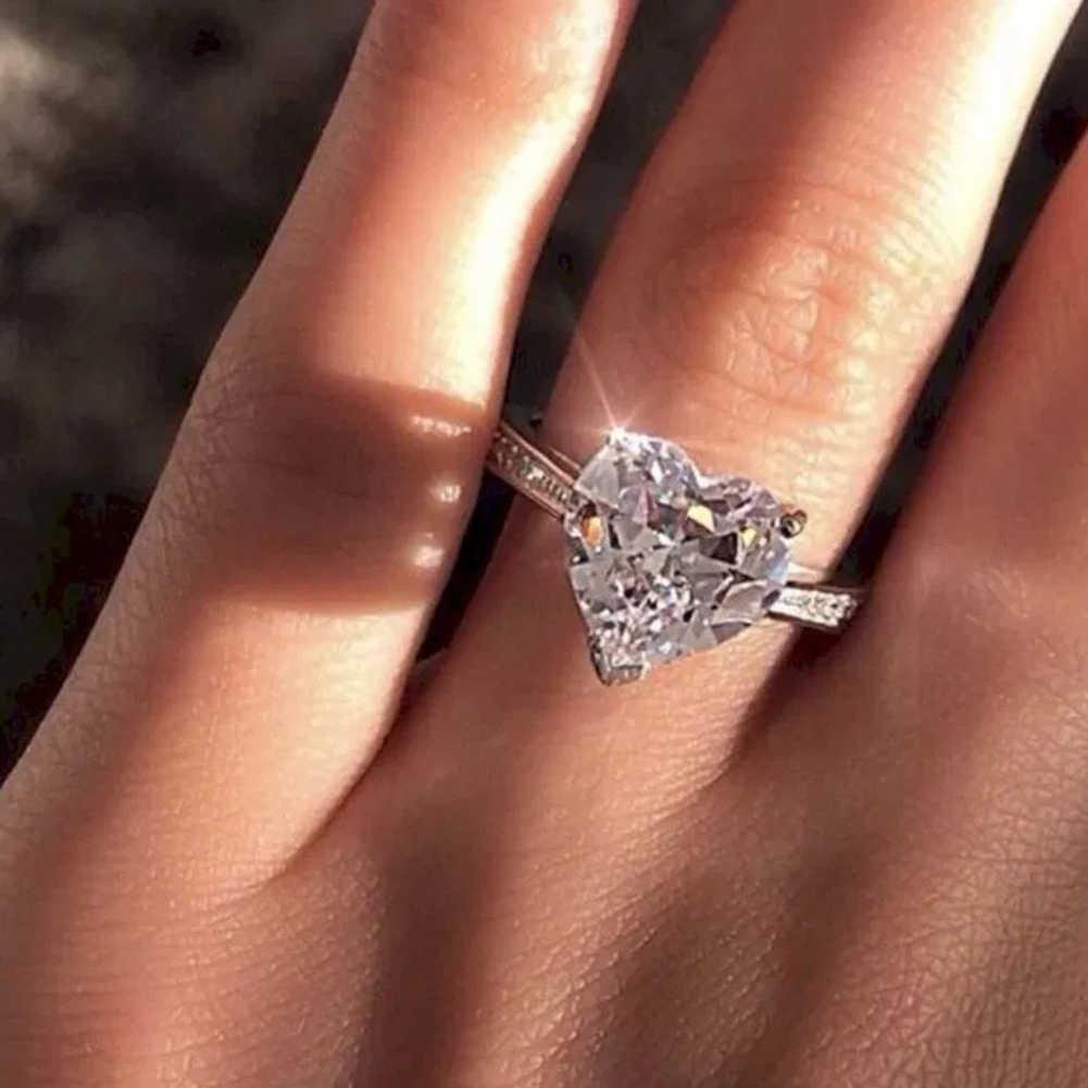2019 אופנה קריסטל ריינסטון לב בצורת חתונה טבעות נשים של גדול אירוסין כסף טבעות תכשיטים זוהר Sz5-10