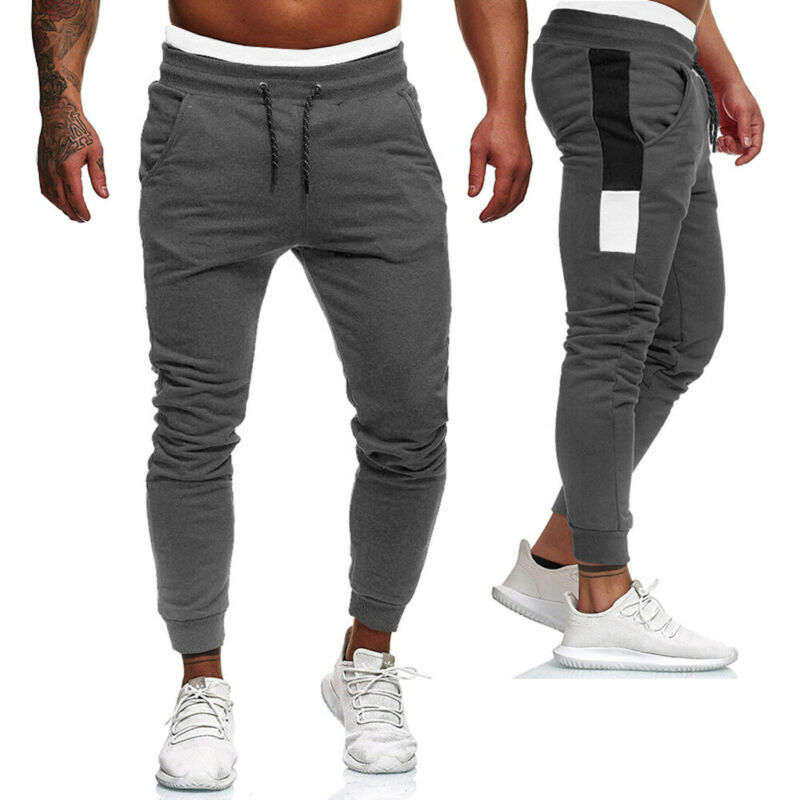 New Men's Sports Pants Sweatpants Mens Slim Fit Tracksuit Sport Gym Sweat Pants Trousers Casual Long Pants Black Grey Red