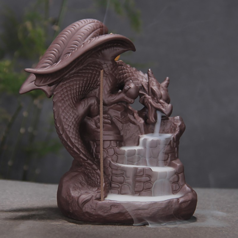 Dargon Incense Burner Ceramic Stick Holders Layers Rise Cone Censer Lucky Home Decoration Accessories Teahouse Ornaments in Incense Incense Burners from Home Garden