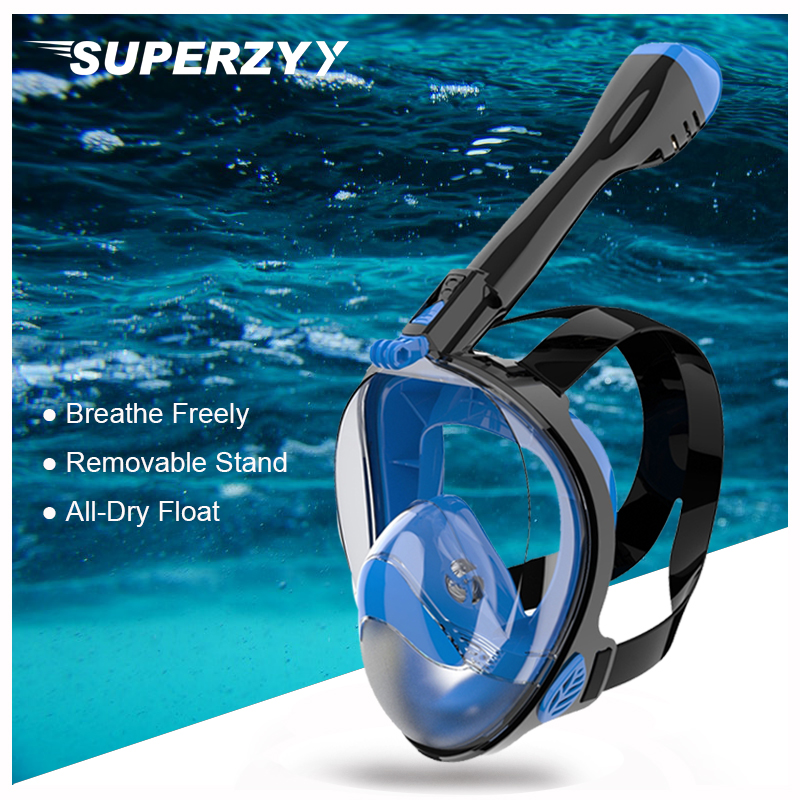 Fast To Russian! Diving Mask Underwater Scuba Anti Fog Full Face Diving Mask Snorkeling Set With Anti-skid Ring Snorkel For Swim(China)