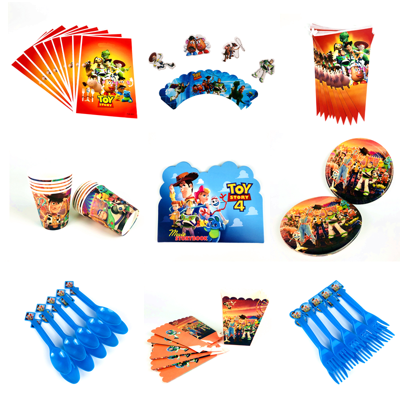 Disney Toy Story 4 Boy Kids Birthday Party Decorations Paper Cups Plates Baby Shower For 10 People Disposable Tableware Supplies