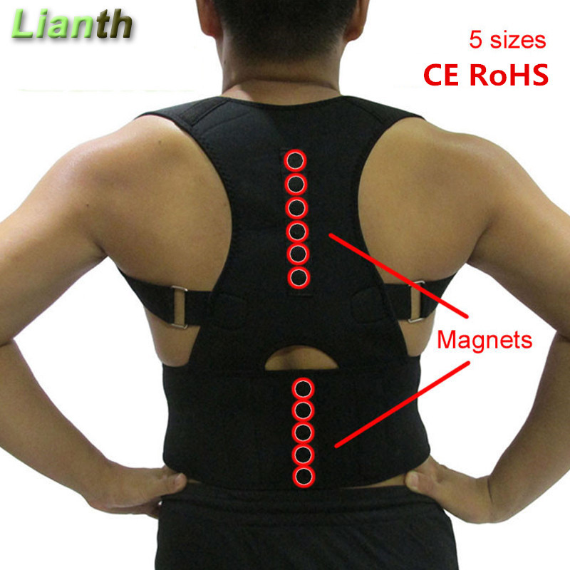 Lianth Magnetic Therapy Back Posture Corrector For Men Women Student Back Pain Relief Adjustable Braces Shoulder Support T174OLA