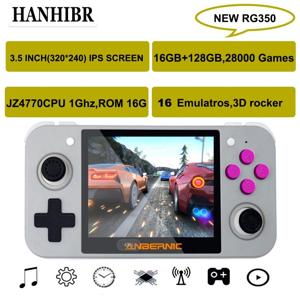 Console de jeu rétro système hanwithr RG350 Linux 3.5 pouces HD IPS écran 16GB jeu de poche 128GB carte 28000 jeu 16 émulateurs