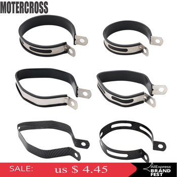 MOTERCROSS Motorcycle Muffler Clamps Exhaust Muffler Silencer Pipe Hanger Mount Bracket Fixed Ring Support Bracket