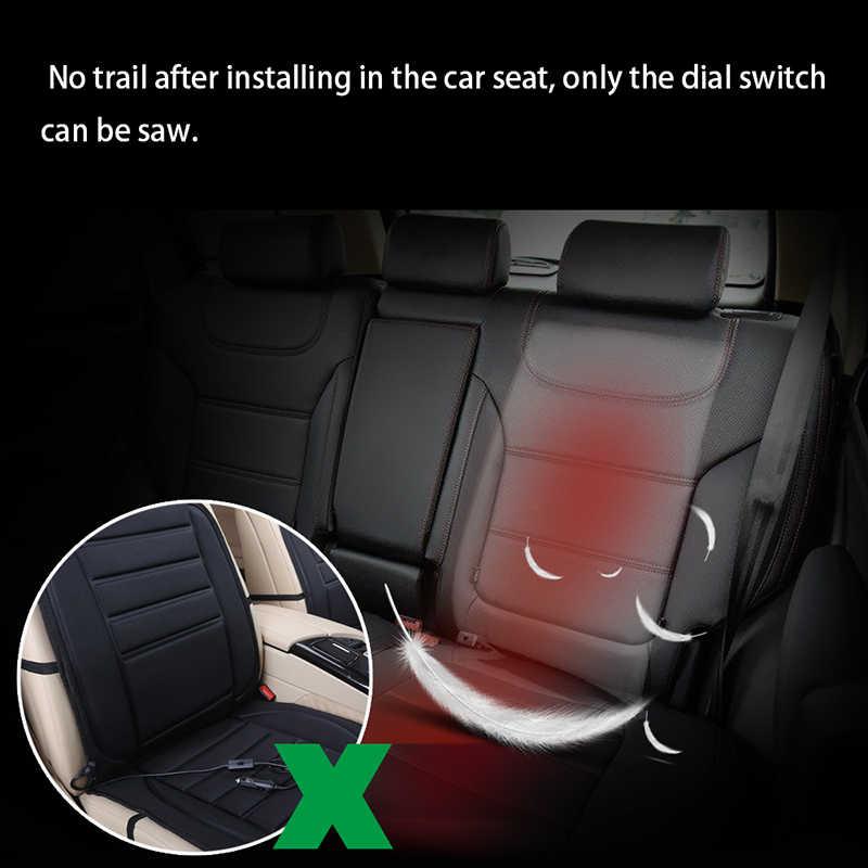 AOZBZ 12V asiento de fibra de carbono de alta calidad almohadilla calefactora caliente estilo de coche para cualquier cojín de respaldo de interruptor Rectangular redondo