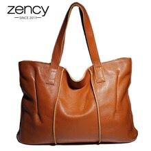Zency 100% 정품 가죽 핸드백 대용량 여성 숄더 백 레트로 토트 지갑 고품질 Hobos 브라운 쇼핑백
