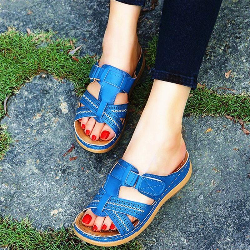 2021 Summer Women Wedge Sandals Premium Orthopedic Open Toe Sandals Vintage Anti-slip Leather Casual Female Platform Retro Shoes 2