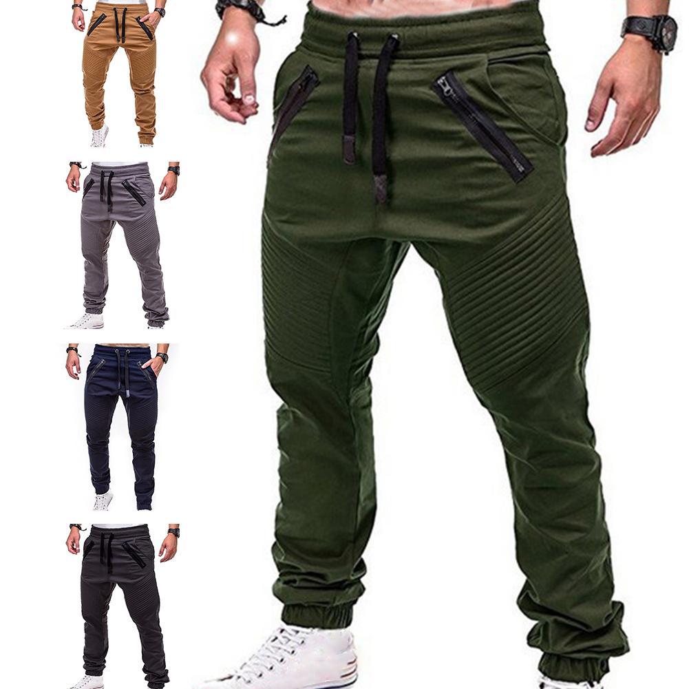 Мужские брюки, модные, с завязками, на молнии, с карманами, с завязками на лодыжке, длинные штаны, спортивные брюки, уличные, эластичные спорт...
