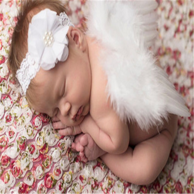 Newborn Photography Props Infant Girls White Angel Feather Wings Wing Set Costume + Headbands Kids Outfit Photo Prop