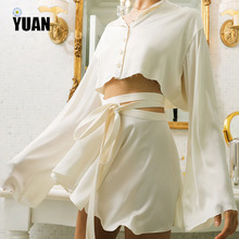YUAN women two piece outfits sweet silk bow tie shirt blouse