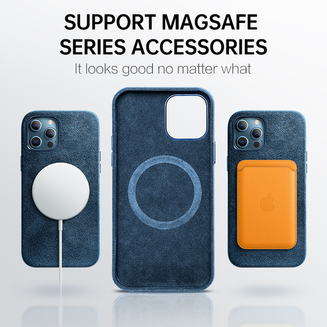 SanCore Alcantara Turn fur Case For iPhone 12 12Pro 12ProMax 12Mini Case Support For Magsafe wireless charger Magnetic cover 2