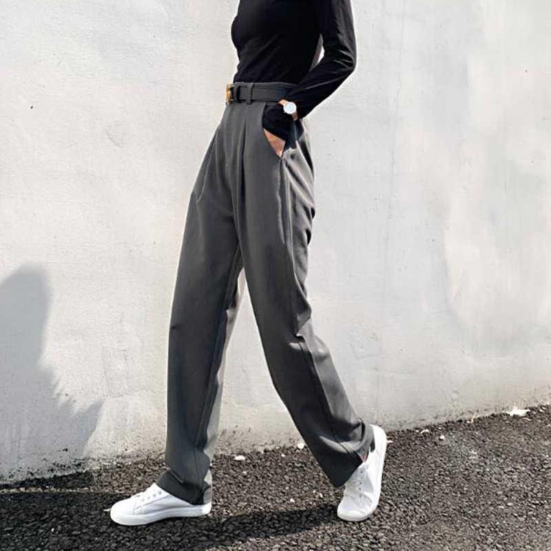 BGTEEVER Chic สูงเอวหลวมตรงกางเกงผู้หญิงสำนักงานสุภาพสตรีชุดกางเกง 2019 ฤดูใบไม้ร่วงหญิงกางเกง pantalon Femme