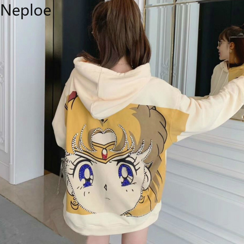 Neploe Beauty Girl Sweatshirt Sailor Moon Print Sanitary Clothes Cartoon Diamond Outwear Loose Pullovers Harajuku Hoodie 80204