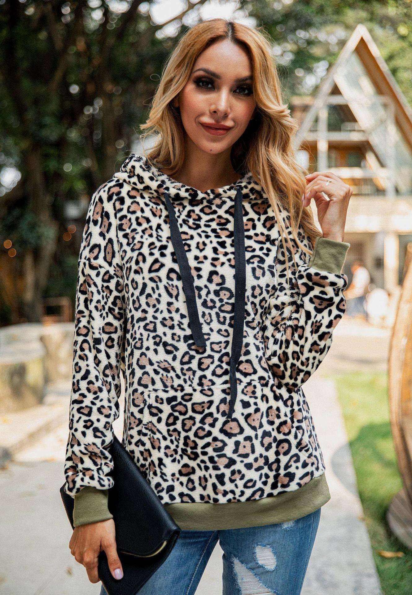 Зимняя уличная одежда леопардовые теплые толстые толстовки женские