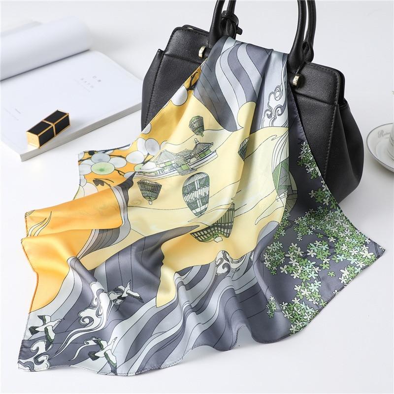 Small Kerchief Silk Satin Hair Scarf For Women Fashion Printed Headband Cute Bag Scarfs Female 53cm*53cm Neck Scarves For Ladies