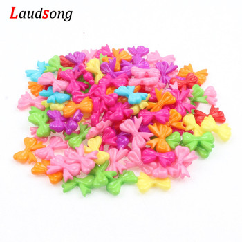 50pcs 15x18mm Mixed Color Bow-knot Beads Acrylic Spacer Beads For Jewelry Making Necklace DIY Bracelet new retro hot acrylic beads imitation wood beads oval shape for handmade diy necklace bracelet jewelry accessories making