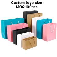 10pcs Gift Paper Bag Custom logo size Gift Clothing Shopping Bag Kraft Paper Spot Printing Logo Solid Color Black White Pink