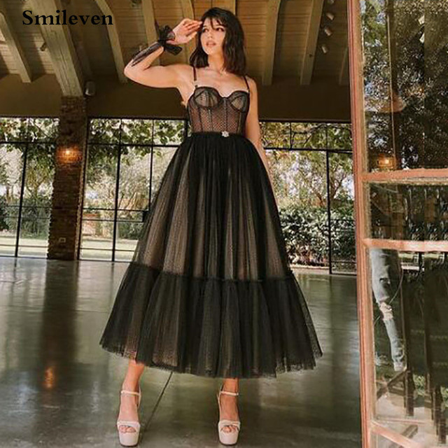 Smileven Modern Black Dotted Tulle Short Prom Dresses Spaghetti Straps Evening Gowns Sweetheart Corset Prom Party Gowns 2