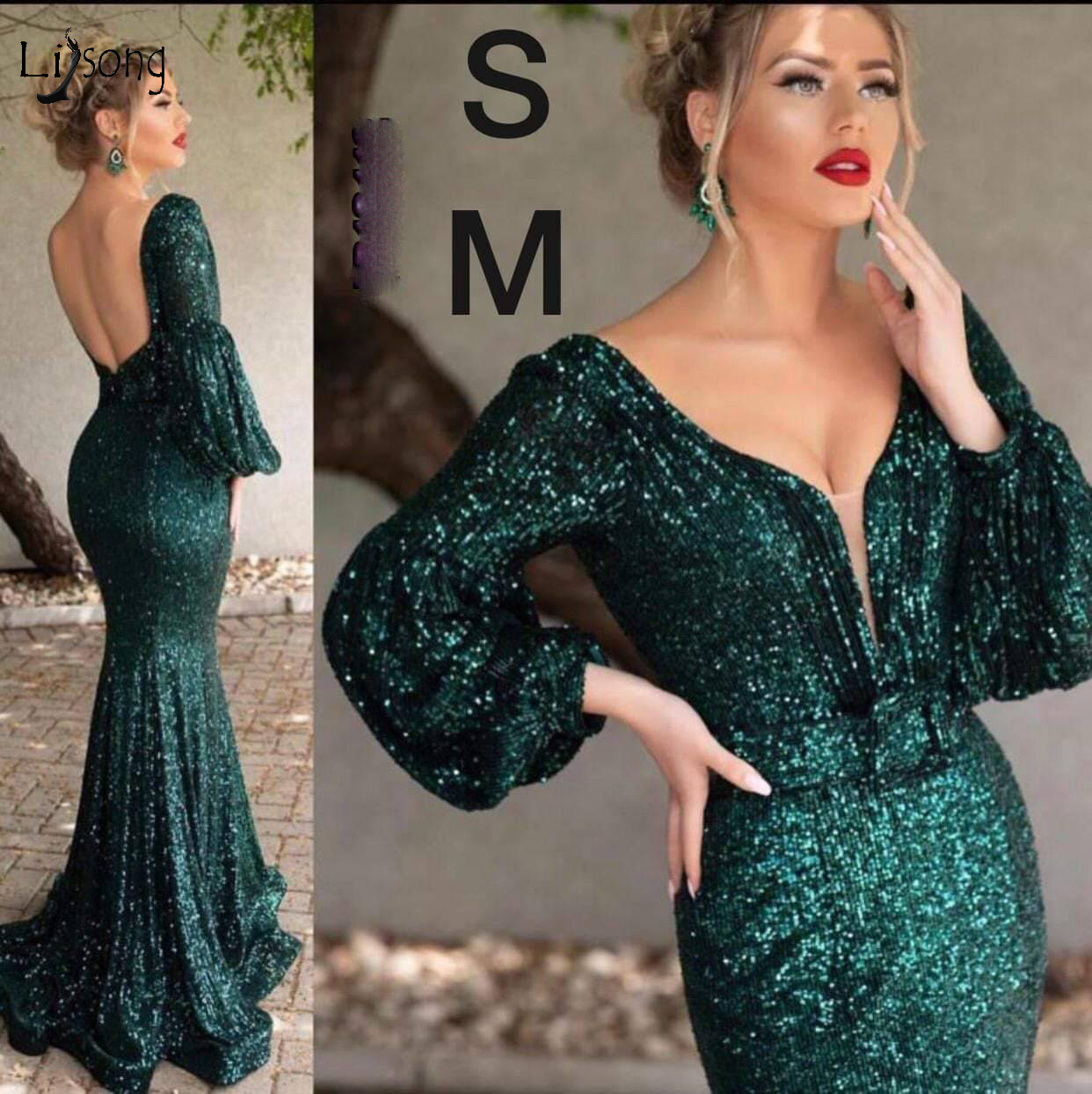 Sexy Sparkle Emerald Green Sequined Mermaid Prom Dresses Puff Full Sleeves Backless V- Neck Sexy Formal Party Dress Prom Gowns