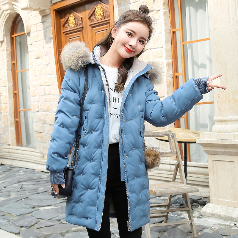 Women&39;s Jacket Large Size 2019 Female Long Hooded Fur Collar Parka_B2_13