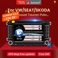 Автомагнитола Junsun для VW/Volkswagen/Golf/Polo/Tiguan/Passat/b7/b6/SEAT/leon/Skoda/Octavia, мультимедийный видеоплеер с GPS, 2 din, dvd