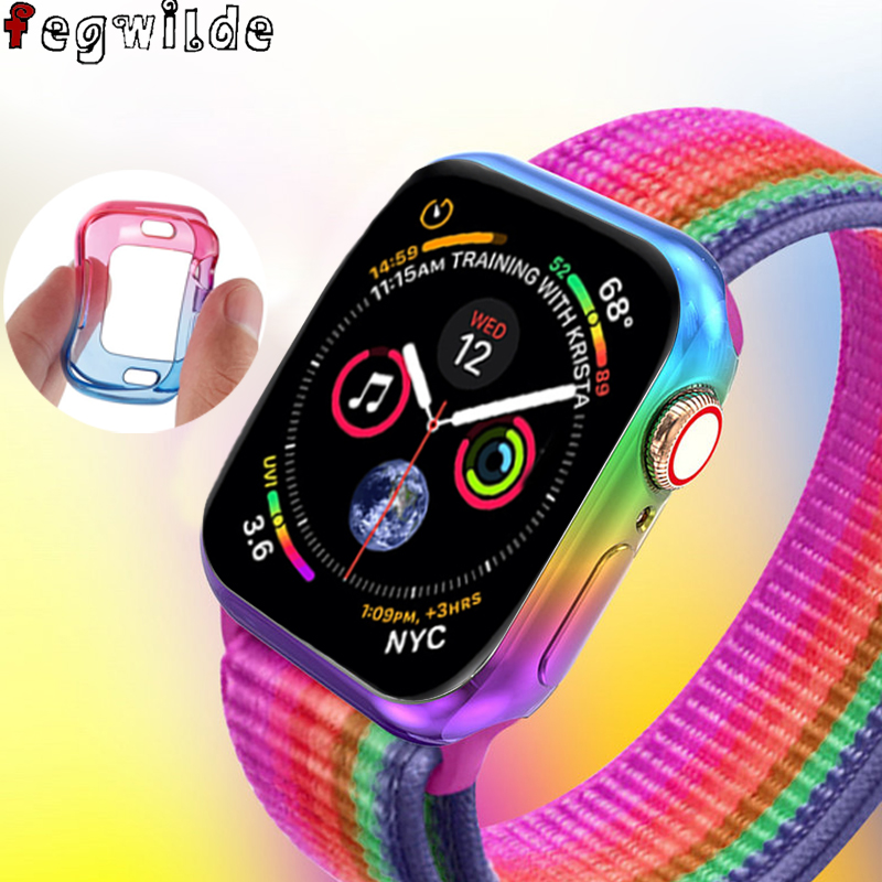 Colorful Case Cover for Apple watch 5 4 44mm 40mm Soft Ultra-thin TPU Protector bumper iWatch series 5/4 44/40 mm Accessories image