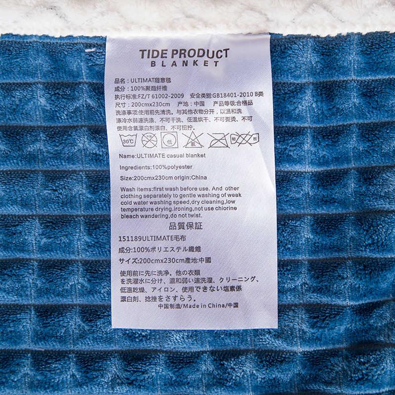 Bleu polaire couvertures et jetés solide Épais hiver Chaud Couvertures Super Doux couette Couvertures de luxe double reine blanc couvertures