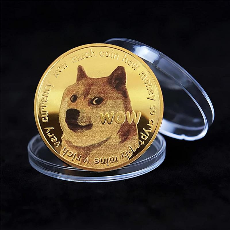 1 Piece Gold/Silver Plated Ethereum Ripple Bitcoin Dogecoin Binance Digital Currency Dog Year Commemorative Coins Ornaments 6