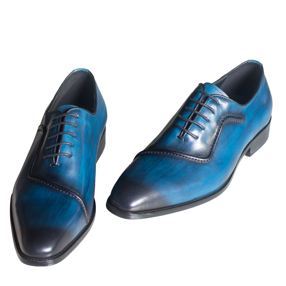 Men Genuine Leather Dress Shoes Italian Design Blue Color Hand-polished Pointed Toe Wedding Shoes