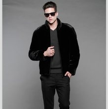 mink fur coat men 2019 Mens Faux Fur Coats With Fur Collar Oversized Leather Jacket Winter Warm Full Fur Black Outerwear XL694(China)