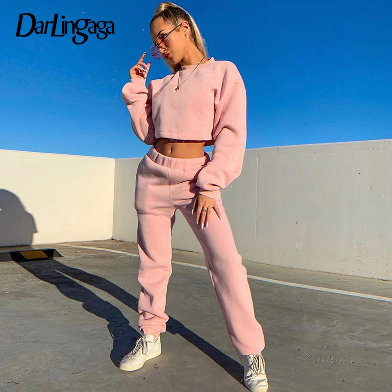 Darlingaga Autumn Winter Fleece Two Piece Set Tracksuit Women Solid Casual Cropped Tops Pullover And Pants Matching Sets Outfits