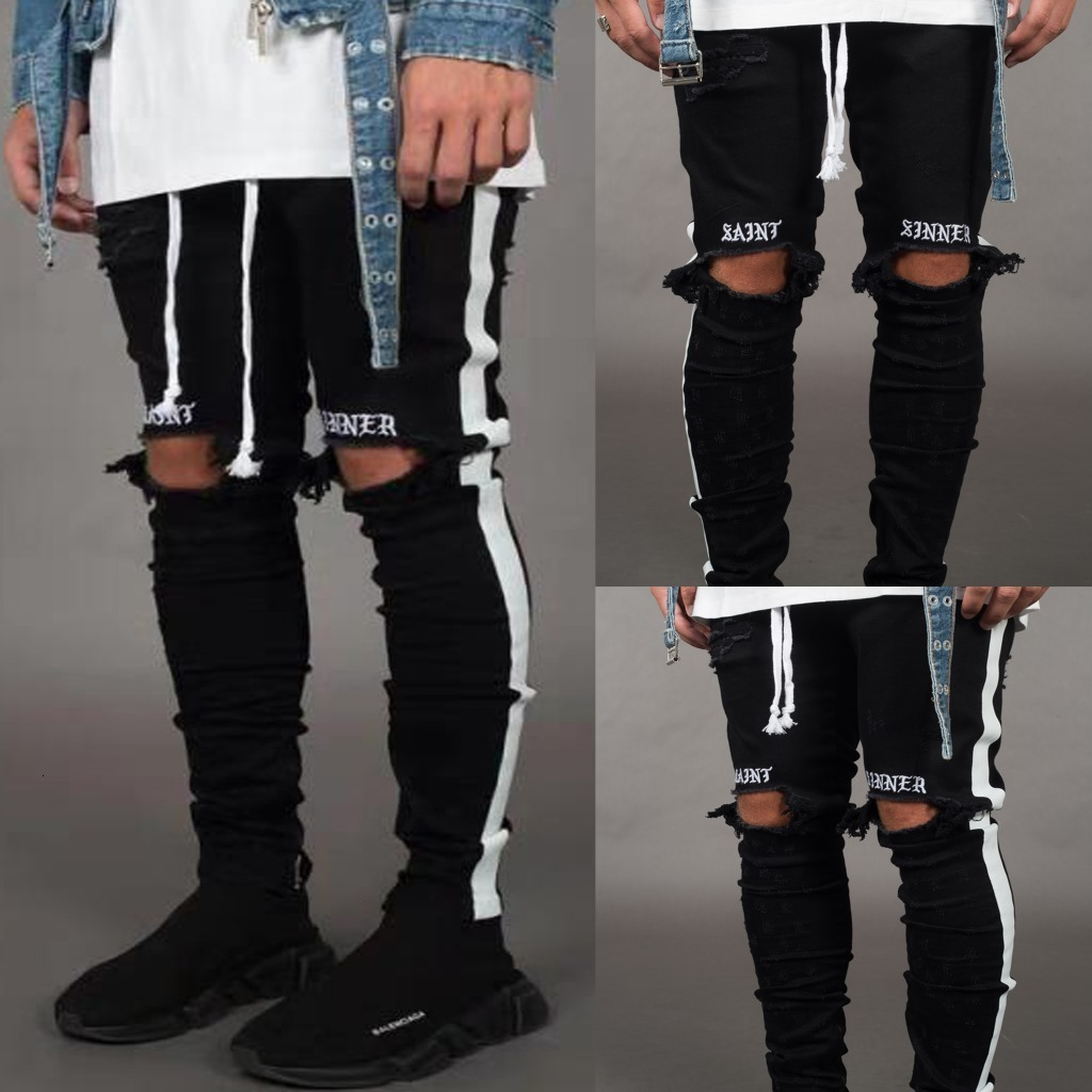 Mens Stretch Men Knee Holes Ripped Skinny Jeans 2019 Black Pencil Denim Trousers Designer Distressed Side Striped Joggers Pant