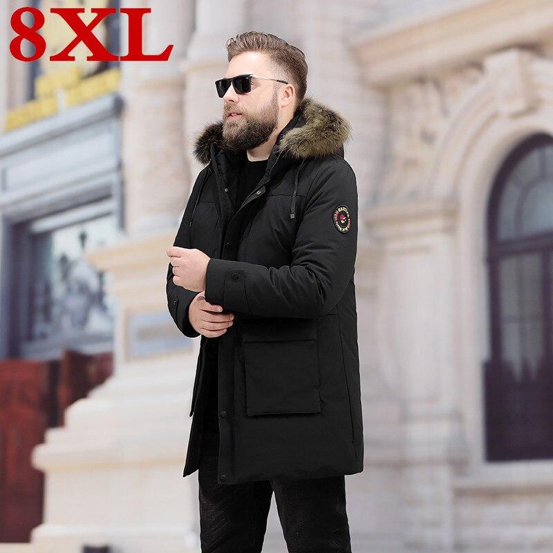 Мужская куртка пуховик для отдыха, теплая водонепроницаемая куртка с большим воротником из меха енота, большие размеры 8XL 7XL, зима 2019