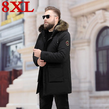 2019 plus size 8XL 7XL Mens Leisure Down Jacket Winter Thick Hood Detached Warm Waterproof Big Raccoon Fur Collar