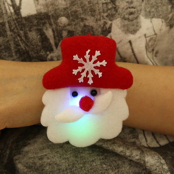 1PC Circle Bear Pat Christmas Gift Kid Hand Ring Slap Luminous Bracelet Decoration Children Toy Lovely Glow Party Clap 2021 image