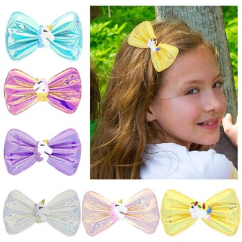 2Pcs Candy Color Children Girls Princess Hairgrips Glitter Hair Bows Clips Festival Party Bow Hair Clips Girls Hair Accessories cotton linen fabric bows boutique hair bow clips sailor bow hair barrettes hairgrips baby girls women hair accessories headwear